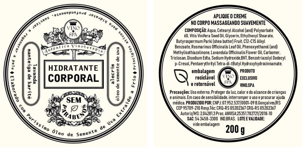 Rotulo – CREME HIDRATANTE CORPORAL